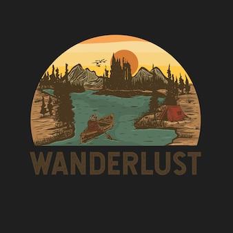 Kleurrijke handgetekende landschapsillustratie met inspirerend citaat