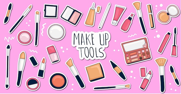 Kleurrijke handgetekende make-up stickers-collectie