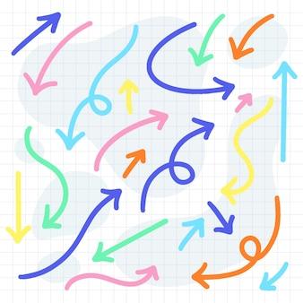 Kleurrijke handgetekende pijlencollectie