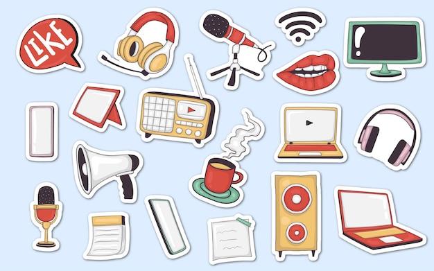 Kleurrijke handgetekende podcast element stickers-collectie