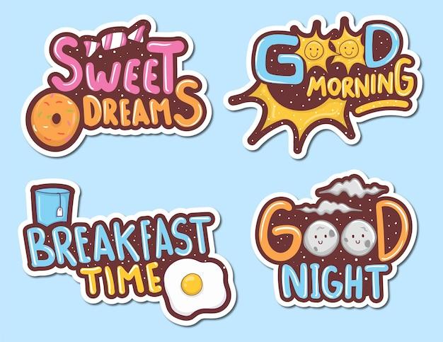 Kleurrijke handgetekende schattige stickers