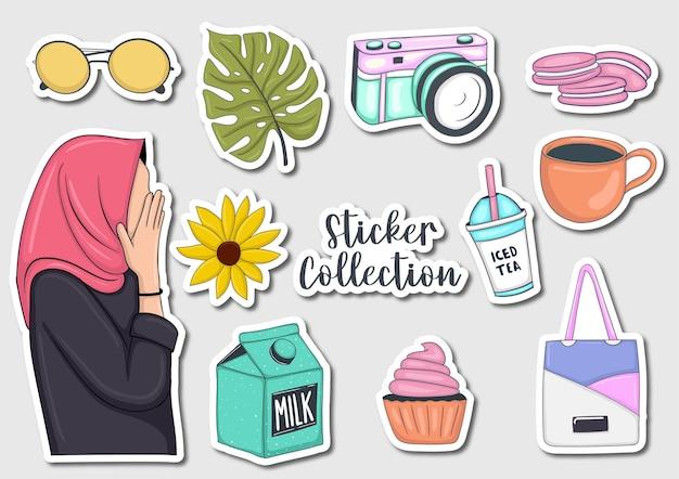 Kleurrijke handgetekende stickerscollectie