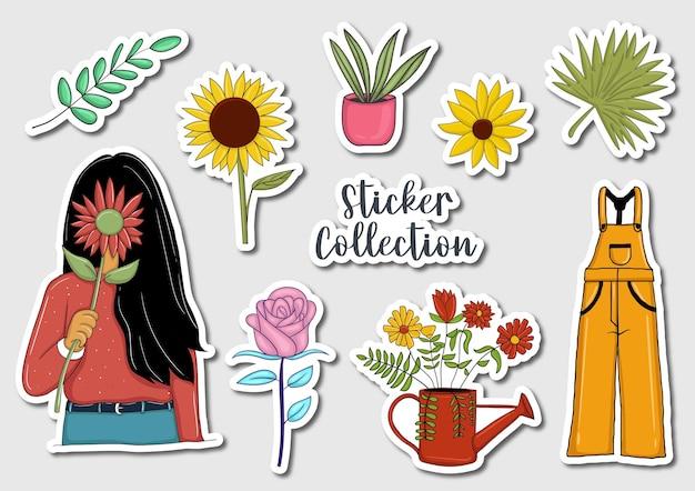 Kleurrijke handgetekende stickerscollectie Premium Vector