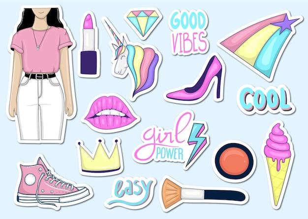 Kleurrijke handgetekende trendy vrouwelijke element stickers-collectie