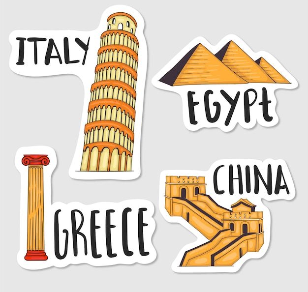 Kleurrijke handgetekende wereld oriëntatiepunten stickers collectie