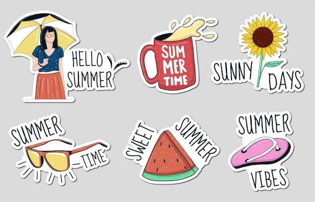 Kleurrijke handgetekende zomer element stickers collectie