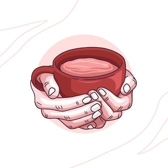 Kleurrijke handtekening van handen met koffie
