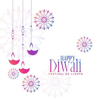 Kleurrijke hangende diya-lampen decoratieve diwali