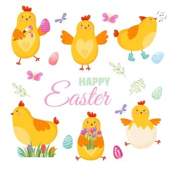 Kleurrijke happy easter wenskaart met bloemen eieren elementen samenstelling. vector