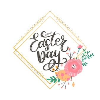 Kleurrijke happy easter wenskaart met bloemen eieren en konijn elementen samenstelling.