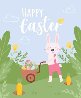 Kleurrijke happy easter wenskaart met konijn, konijn en tekst