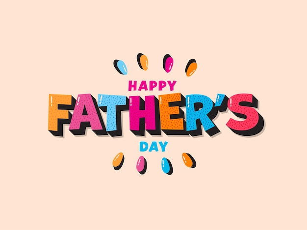 Kleurrijke happy father's day tekst op pastel perzik achtergrond.