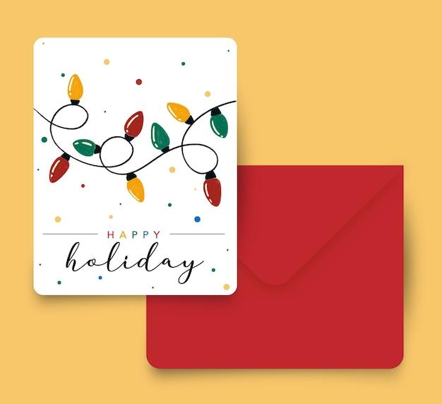 Kleurrijke happy holiday licht wenskaart met een rode envelop