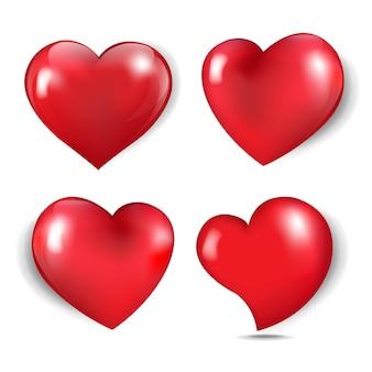 Kleurrijke harten geïsoleerd op een witte achtergrond met verloopnet, vectorillustratie.