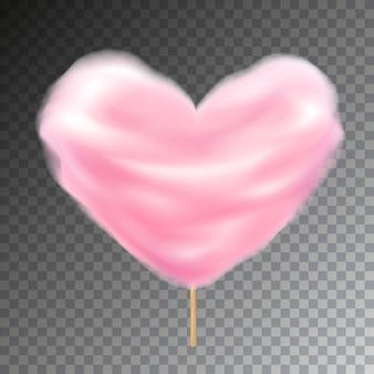 Kleurrijke hartvorm suikerspin op stok. zoete pluizige snackillustratie met transparantie.