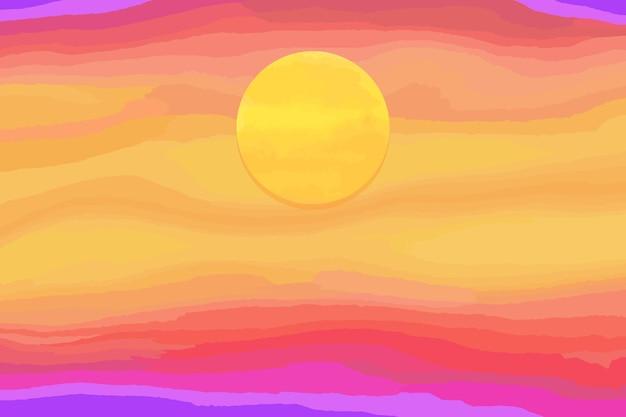Kleurrijke heldere aquarel zonsondergang met zon. vectorachtergrond.