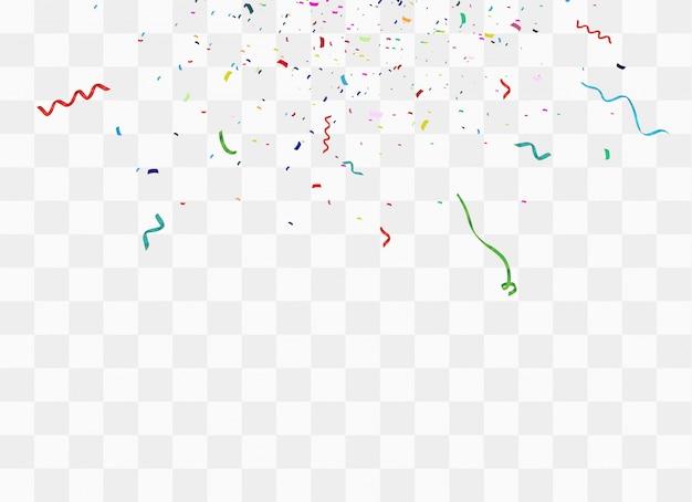 Kleurrijke heldere confetti geïsoleerd op transparante achtergrond.