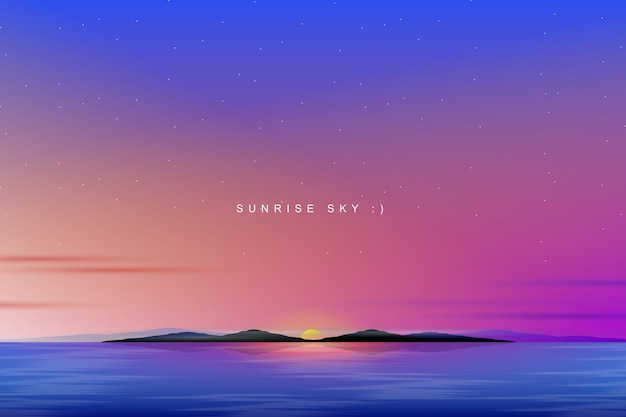 Kleurrijke hemelachtergrond met zonsopgang en overzees landschap