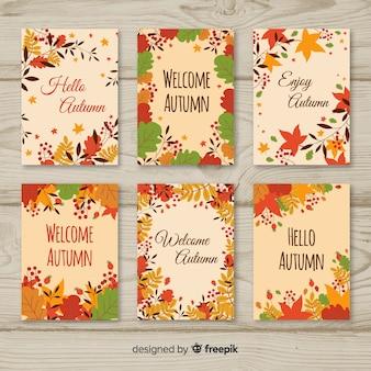 Kleurrijke herfst kaarten instellen met bladeren