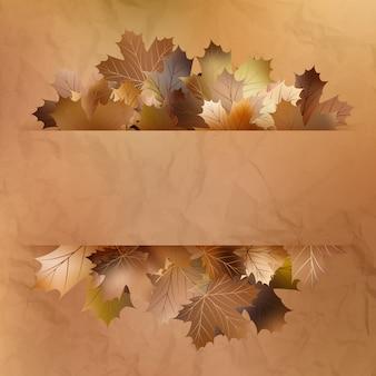 Kleurrijke herfstbladeren op een oud papier.