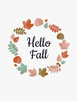 Kleurrijke herfstbladeren rond de tekst hallo vallen