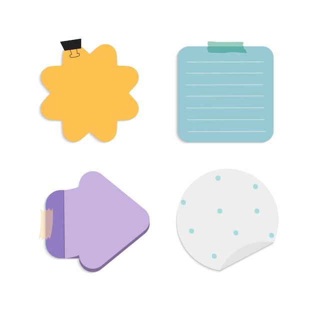 Kleurrijke herinnering notities vector set