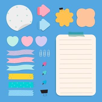 Kleurrijke herinnering papier notities instellen