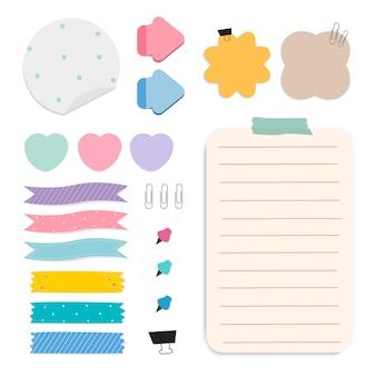 Kleurrijke herinnering papier notities vector set