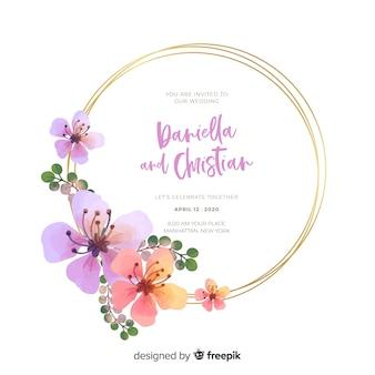 Kleurrijke het huwelijksuitnodiging van het waterverf bloemenkader