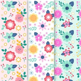 Kleurrijke het ontwerpinzameling van het de lente bloemenpatroon