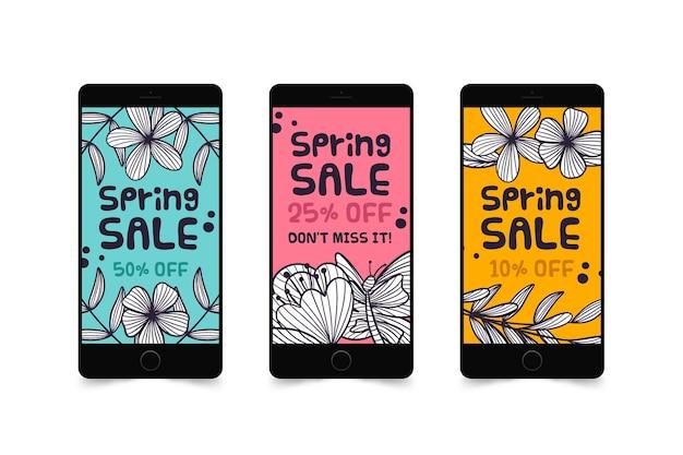 Kleurrijke het verhaalinzameling van de de lenteverkoop instagram