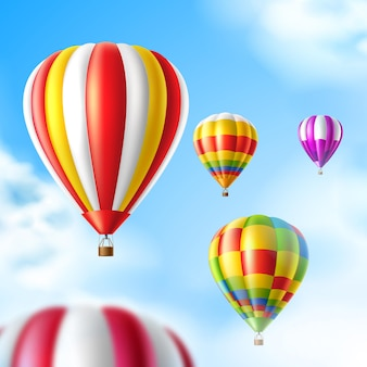Kleurrijke hete lucht ballonnen op blauwe hemelachtergrond