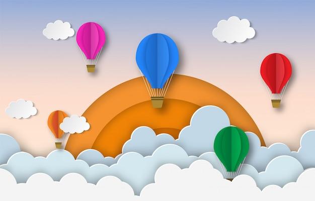 Kleurrijke hete lucht ballonnen vliegen