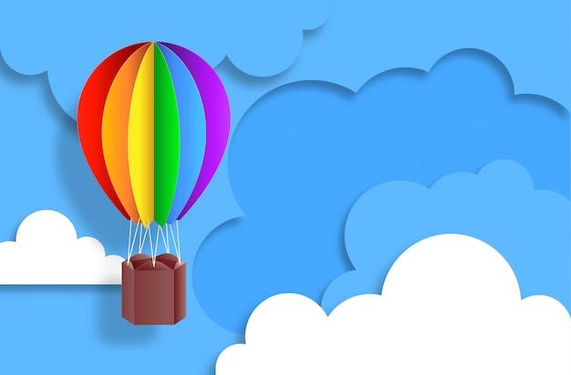 Kleurrijke hete luchtballon met papier gesneden stijl