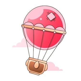 Kleurrijke hete luchtballon met silhouetten geïsoleerd op een witte achtergrond, vectorillustratie