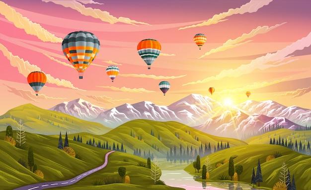 Kleurrijke hete luchtballons die over berg vliegen. reizen, zomervakantie plannen