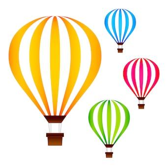 Kleurrijke hete luchtballons geplaatst die op wit worden geïsoleerd