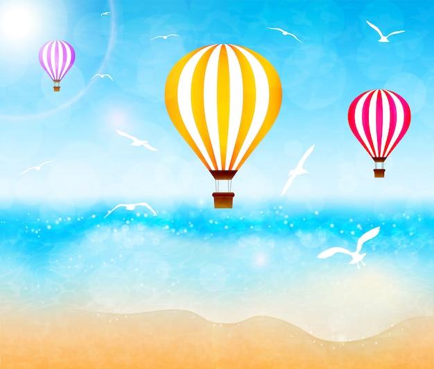 Kleurrijke heteluchtballonnen boven de zee. vector illustratie