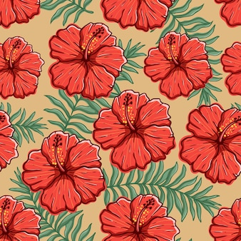 Kleurrijke hibiscusbloem in naadloos patroon met hand trekt stijl