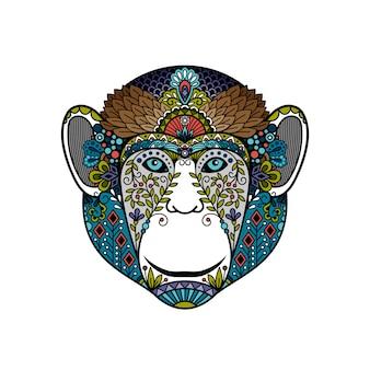 Kleurrijke hipster aap hoofd