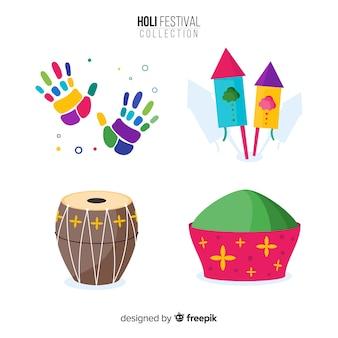 Kleurrijke holi festival element ingesteld
