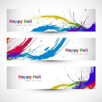 Kleurrijke holi festival headers