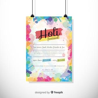 Kleurrijke holi festival partij poster