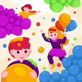 Kleurrijke holi gulal illustratie