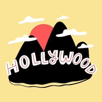 Kleurrijke hollywood stad belettering