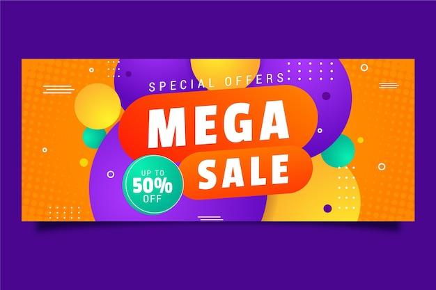 Kleurrijke horizontale banner te koop Gratis Vector