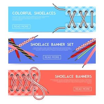 Kleurrijke horizontale die banners met diverse schoenveters vlak geïsoleerde vectorillustratie worden geplaatst