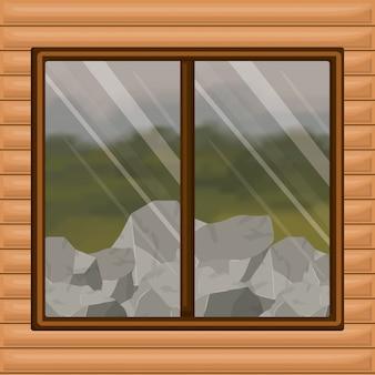 Kleurrijke houten houten cabine als achtergrond met bos en rotsen scenary achter venster