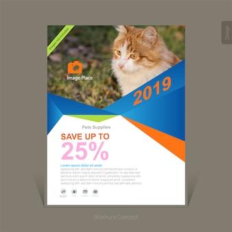 Kleurrijke huisdieren levert business flyer-sjabloon
