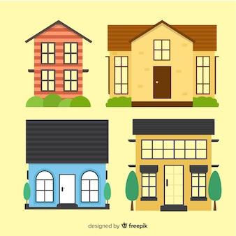 Kleurrijke huisvestingsinzameling met beeldverhaalstijl